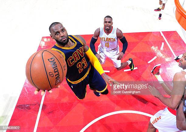 LeBron James of the Cleveland Cavaliers shoots the ball against the Atlanta Hawks on April 1 2016 at Philips Arena in Atlanta Georgia NOTE TO USER...