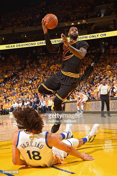 LeBron James of the Cleveland Cavaliers shoots the ball against the Golden State Warriors in Game Five of the 2016 NBA Finals on June 13 2016 at...