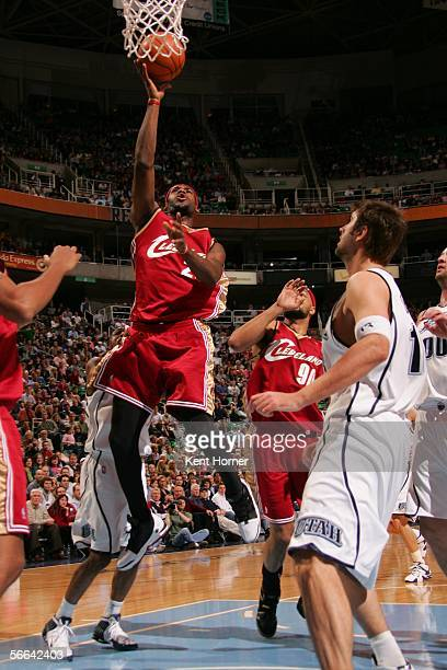 LeBron James of the Cleveland Cavaliers shoots the ball against the Utah Jazz during their game on January 21 2006 at the Delta Center in Salt Lake...