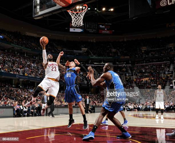 LeBron James of the Cleveland Cavaliers shoots the ball against the Orlando Magic during the game on April 4 2017 at Quicken Loans Arena in Cleveland...
