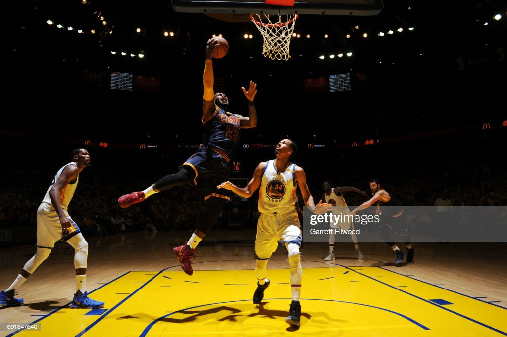 LeBron James #23 of the Cleveland Cavaliers shoots the ball against the Golden State Warriors in Game One of the 2017 NBA Finals on June 1, 2017 at Oracle Arena in Oakland, California.
