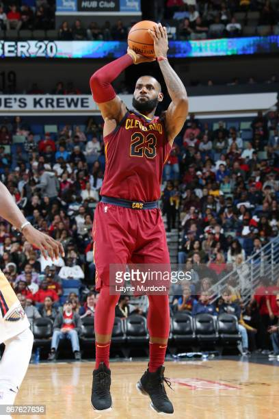 LeBron James of the Cleveland Cavaliers shoots the ball against the New Orleans Pelicans on October 28 2017 at the Smoothie King Center in New...