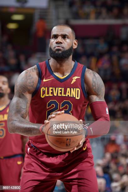 LeBron James of the Cleveland Cavaliers shoots the ball against the Indiana Pacers on November 1 2017 at Quicken Loans Arena in Cleveland Ohio NOTE...