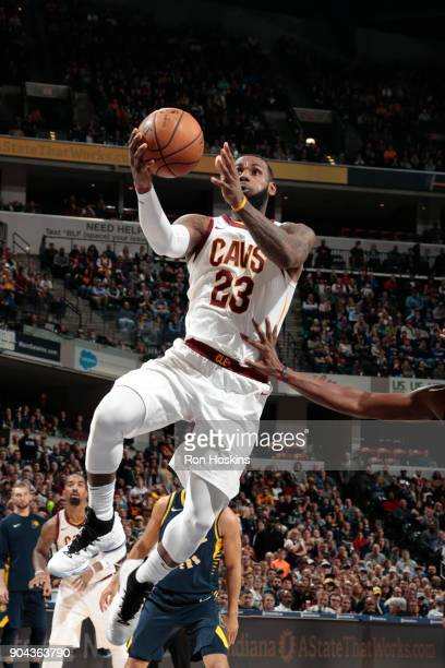 LeBron James of the Cleveland Cavaliers shoots the ball against the Indiana Pacers on January 12 2018 at Bankers Life Fieldhouse in Indianapolis...