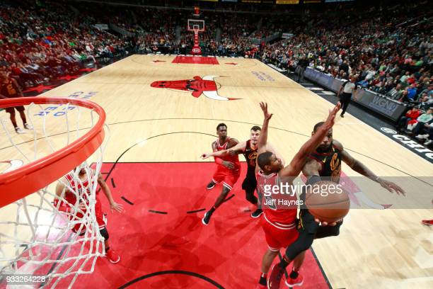 LeBron James of the Cleveland Cavaliers shoots the ball against the Chicago Bulls on March 17 2018 at the United Center in Chicago Illinois NOTE TO...