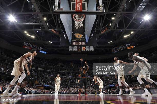 LeBron James of the Cleveland Cavaliers shoots the ball against the Milwaukee Bucks on March 19 2018 at Quicken Loans Arena in Cleveland Ohio NOTE TO...