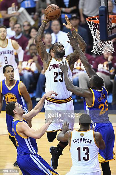 LeBron James of the Cleveland Cavaliers shoots the ball during the first half against the Golden State Warriors in Game 3 of the 2016 NBA Finals at...