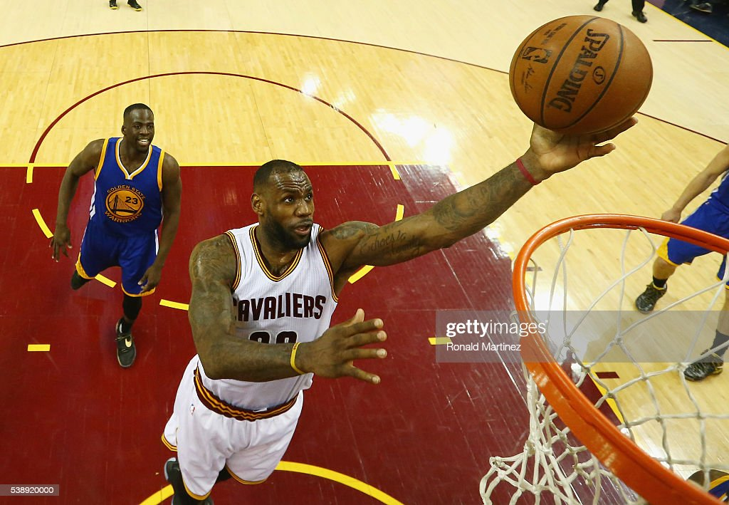 LeBron James #23 of the Cleveland Cavaliers shoots the ball during the second half against the Golden State Warriors in Game 3 of the 2016 NBA Finals at Quicken Loans Arena on June 8, 2016 in Cleveland, Ohio.