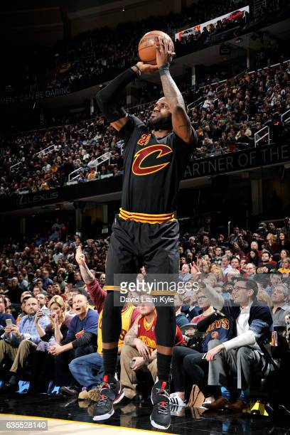 LeBron James of the Cleveland Cavaliers shoots the ball during the game against the Indiana Pacers on February 15 2017 at Quicken Loans Arena in...