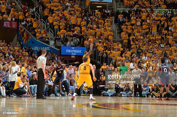 LeBron James of the Cleveland Cavaliers shoots the ball putting his team up with 30 seconds left in the game against the Atlanta Hawks at the Quicken...