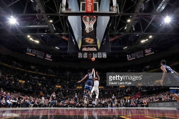 LeBron James of the Cleveland Cavaliers shoots the game winner in overtime against Jimmy Butler of the Minnesota Timberwolves on February 7 2018 at...