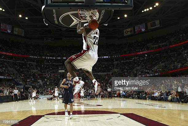 LeBron James of the Cleveland Cavaliers shoots with a reverse dunk on a breakaway against the New Jersey Nets at The Quicken Loans Arena January 6,...