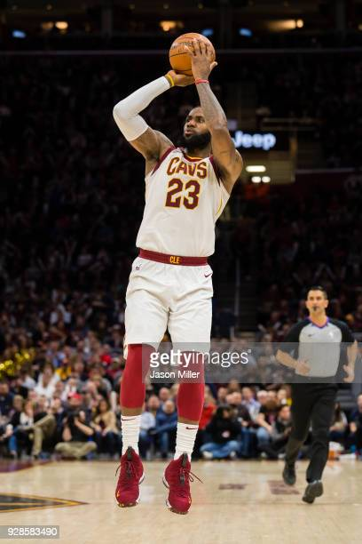 LeBron James of the Cleveland Cavaliers shots a jump shot against the Detroit Pistons during the second half at Quicken Loans Arena on March 5 2018...