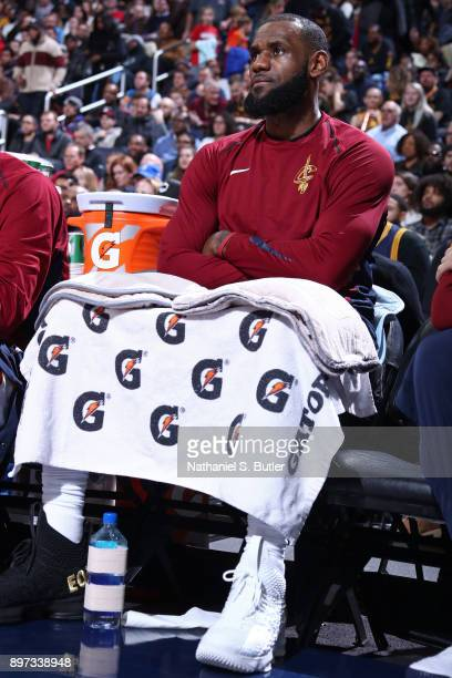 LeBron James of the Cleveland Cavaliers sits on the bench during the game against the Washington Wizards on December 17 2017 at Capital One Arena in...