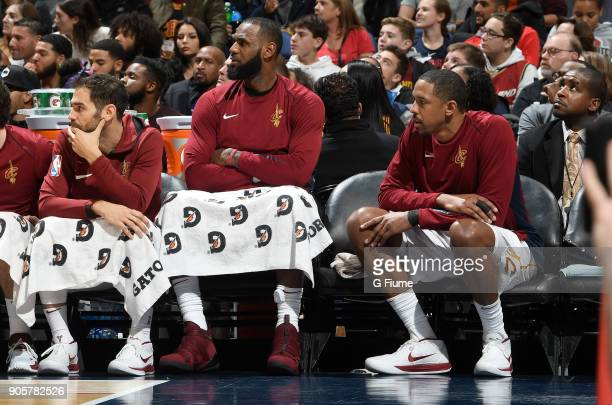 LeBron James of the Cleveland Cavaliers sits on the bench during the game against the Washington Wizards at Capital One Arena on December 17 2017 in...