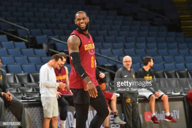 LeBron James of the Cleveland Cavaliers smiles during practice and media availability as part of the 2018 NBA Finals on MAY 30 2018 at ORACLE Arena...