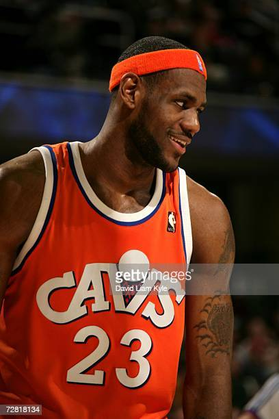 LeBron James of the Cleveland Cavaliers smiles during the game against the Toronto Raptors at Quicken Loans Arena on December 6 2006 in Cleveland...