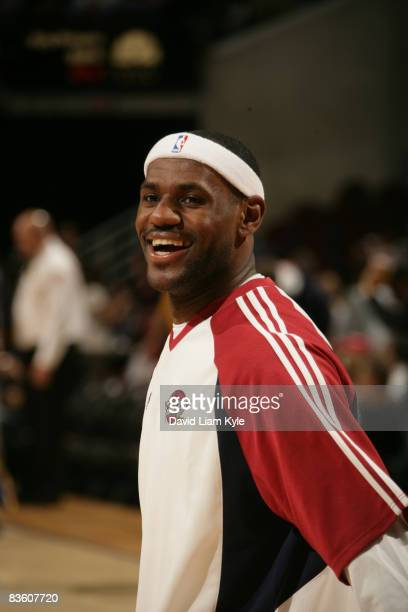 LeBron James of the Cleveland Cavaliers smiles wide during warm-up before the game against the Indiana Pacers at The Quicken Loans Arena on November...