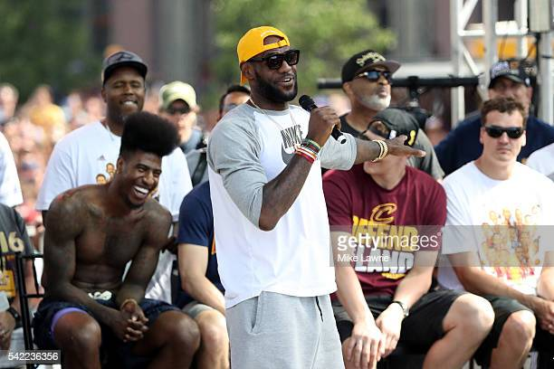 LeBron James of the Cleveland Cavaliers speaks during the Cleveland Cavaliers 2016 NBA Championship victory parade and rally on June 22, 2016 in...