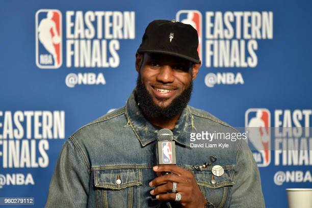 LeBron James of the Cleveland Cavaliers speaks to the media after Game Three of the Eastern Conference Finals against the Boston Celtics during the...