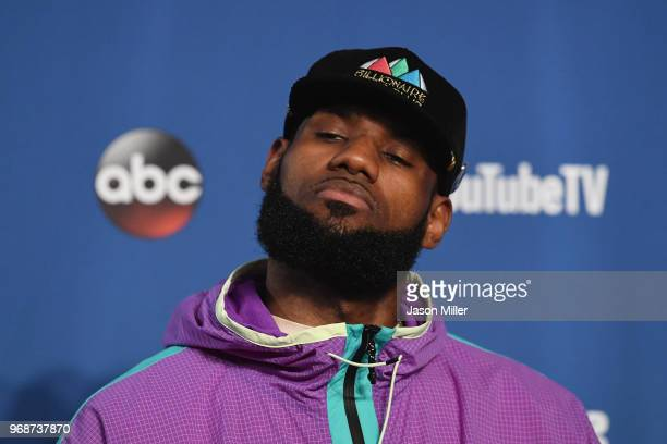 LeBron James of the Cleveland Cavaliers speaks to the media after being defeated by the Golden State Warriors during Game Three of the 2018 NBA...