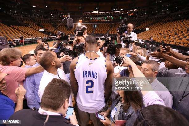 LeBron James of the Cleveland Cavaliers speaks to the media during practice day of the Eastern Conference Finals of the 2017 NBA Playoffs on May 18...