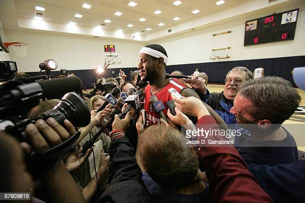 LeBron James of the Cleveland Cavaliers speaks to the press during media availability during the Eastern Conference Semifinals during the 2006 NBA...