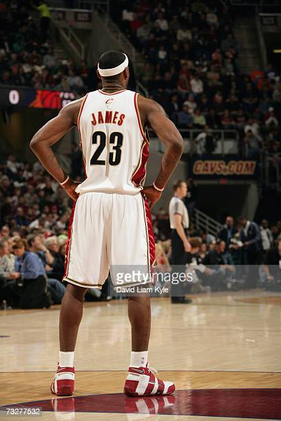 LeBron James of the Cleveland Cavaliers stands alone in the back court during a game against the Phoenix Suns at The Quicken Loans Arena on January...