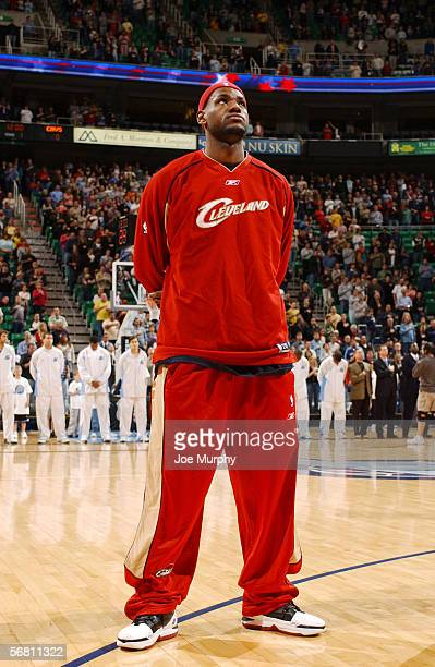 LeBron James of the Cleveland Cavaliers stands for the National Anthem before the game against the Utah Jazz on January 21 2006 at the Delta Center...