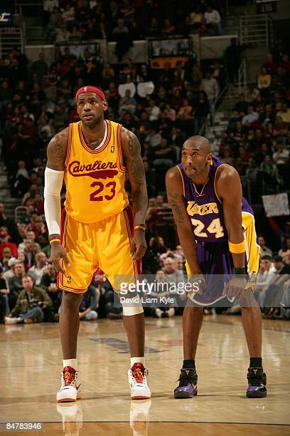 LeBron James of the Cleveland Cavaliers stands next to Kobe Bryant of the Los Angeles Lakers during the game on February 8 2009 at Quicken Loans...