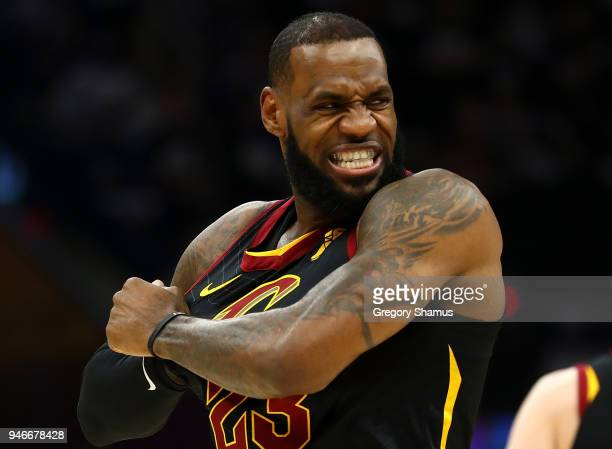 LeBron James of the Cleveland Cavaliers stretches his jersey just prior to playing the Indiana Pacers in Game One of the Eastern Conference...
