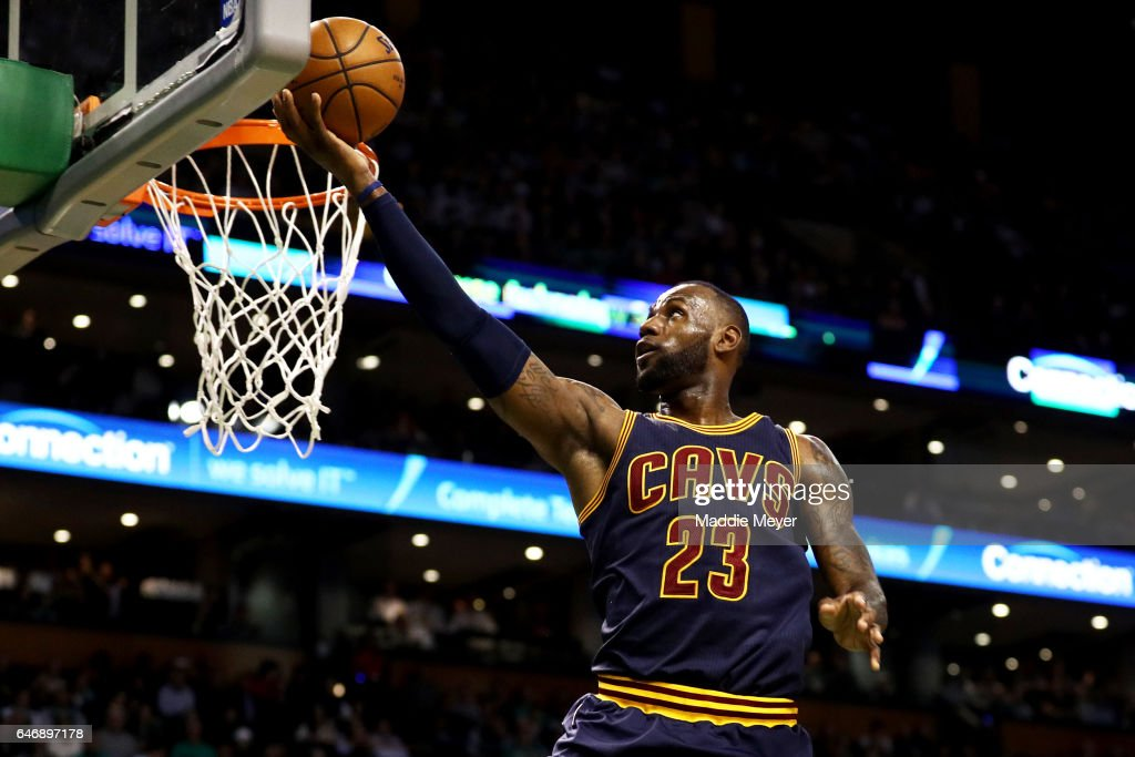 LeBron James #23 of the Cleveland Cavaliers takes a shot against the Boston Celtics during the first quarter at TD Garden on March 1, 2017 in Boston, Massachusetts.