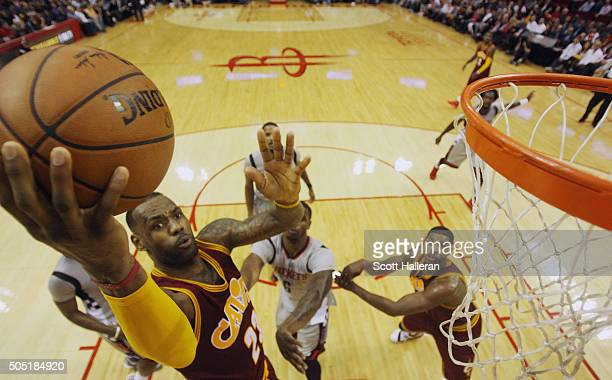 LeBron James of the Cleveland Cavaliers takes a shot during their game against the Houston Rockets at the Toyota Center on January 15 2016 in Houston...