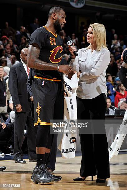 LeBron James of the Cleveland Cavaliers talks to Fox Sports Analyst Allie Clifton after the game against the Charlotte Hornets on April 3 2016 at...