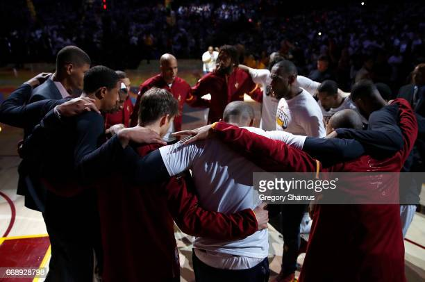 LeBron James of the Cleveland Cavaliers talks to his team prior to playing the Indiana Pacers in Game One of the Eastern Conference Quarterfinals...