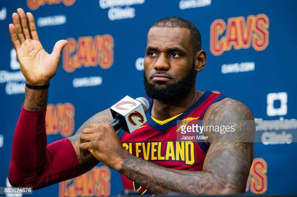 LeBron James of the Cleveland Cavaliers talks to the media during Media Day at Cleveland Clinic Courts on September 25 2017 in Independence Ohio NOTE...