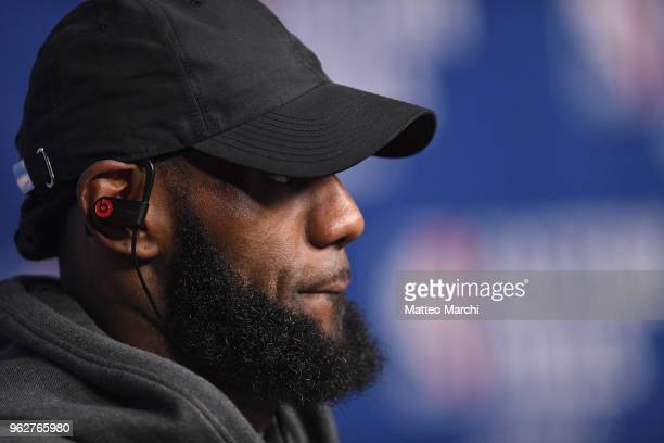 LeBron James of the Cleveland Cavaliers talks to the media following Game Five of the 2018 NBA Eastern Conference Finals against the Boston Celtics...