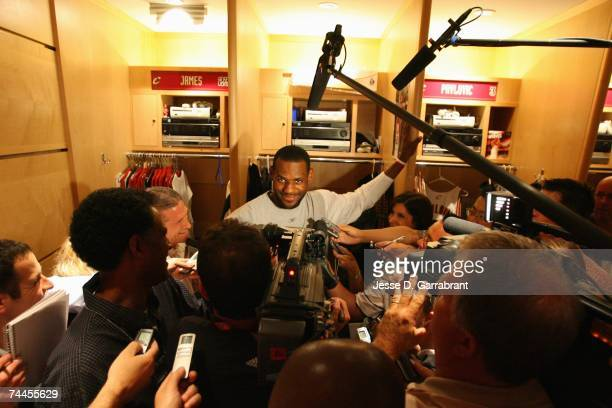 Lebron James of the Cleveland Cavaliers talks to the media prior to Game Six of the Eastern Conference Finals against the Detroit Pistons during the...