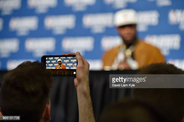 LeBron James of the Cleveland Cavaliers talks with the media following Game Three of the Eastern Conference Semi Finals of the 2018 NBA Playoffs...