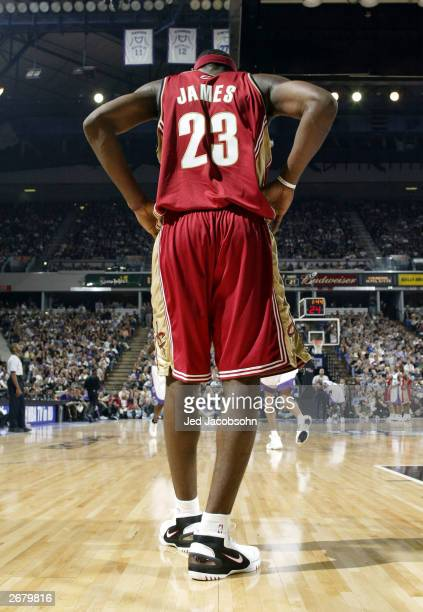 Lebron James of the Cleveland Cavaliers waits for the ball against the Sacramento Kings during an NBA game at Arco Arena on October 29 2003 in...