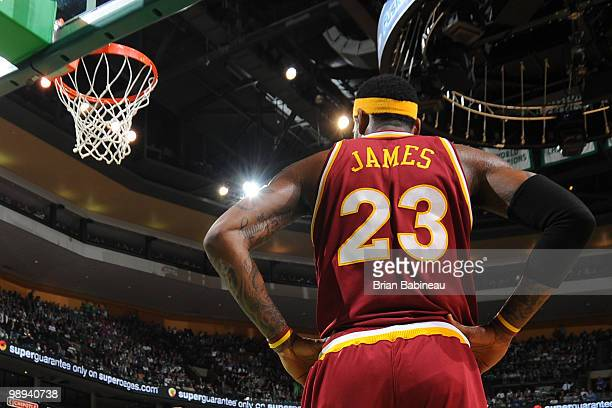 LeBron James of the Cleveland Cavaliers waits for the play against the Boston Celtics in Game Four of the Eastern Conference Semifinals during the...