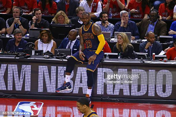 LeBron James of the Cleveland Cavaliers waits to get in Game Six of the NBA Eastern Conference Finals against the Toronto Raptors at Air Canada...