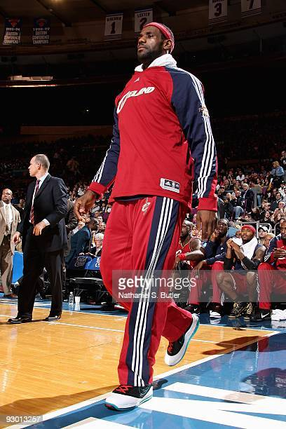 LeBron James of the Cleveland Cavaliers walks along the baseline during the game against the New York Knicks on November 6, 2009 at Madison Square...