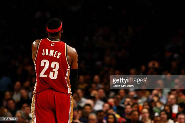 LeBron James of the Cleveland Cavaliers walks back down court after scoring a basket against the New York Knicks at Madison Square Garden November 6,...