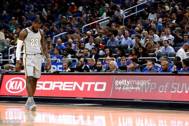 LeBron James of the Cleveland Cavaliers walks down the court during the game against the Orlando Magic at the Amway Cetnter on February 6 2018 in...