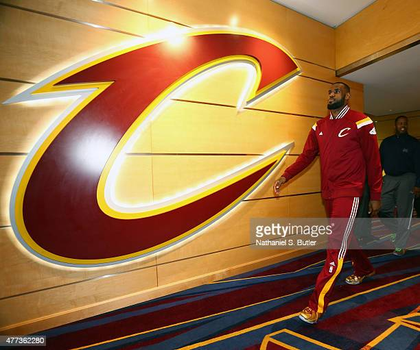 LeBron James of the Cleveland Cavaliers walks out to the court to warm up prior to Game Six of the 2015 NBA Finals at The Quicken Loans Arena on June...