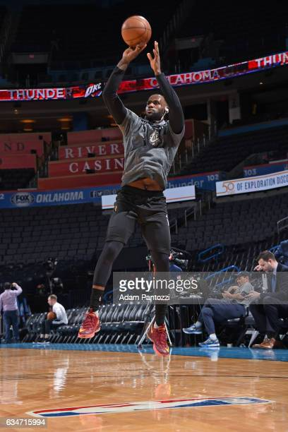 LeBron James of the Cleveland Cavaliers warms up before the game against the Oklahoma City Thunder on February 9 2017 at Chesapeake Energy Arena in...