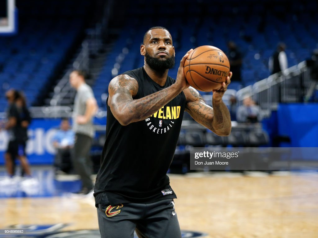 1de65bcd8246 LeBron James of the Cleveland Cavaliers warms up before the game ...