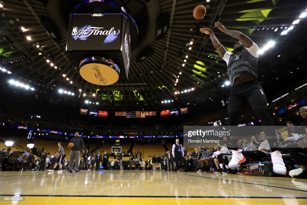 LeBron James #23 of the Cleveland Cavaliers warms up prior to Game 2 of the 2017 NBA Finals against the Golden State Warriors at ORACLE Arena on June 4, 2017 in Oakland, California.