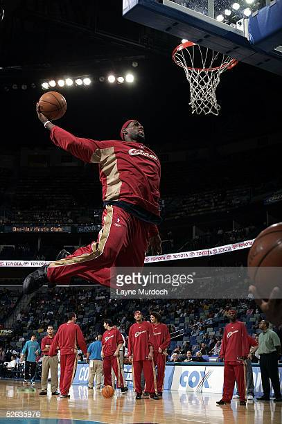 LeBron James of the Cleveland Cavaliers warms up prior to the game against the New Orleans Hornets at the New Orleans Arena in New Orleans Louisiana...